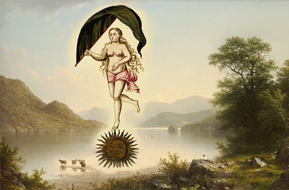 Collage of Alchemical Woman atop a Sun and a painting by George William Casilear, 1860