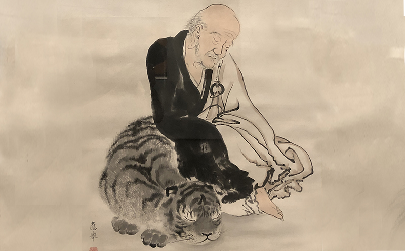 Ancient Japanese brush painting of a Monk seated on a Tiger, meditating