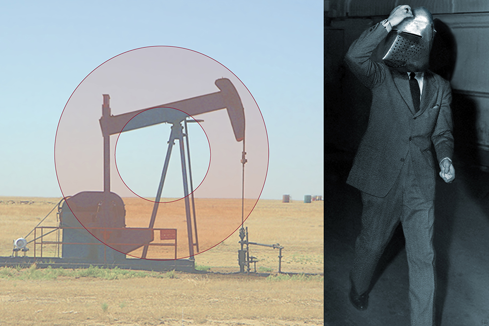 And Oil Well and Business Man in a Medieval Mask